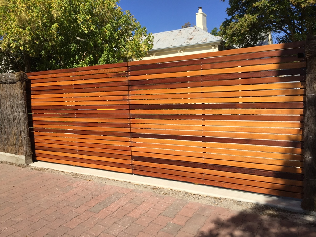 Wooden automated driveway aluminium steel security gates adelaide